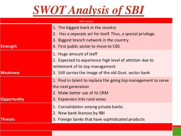 swot sbi 18082015 sbi's gross npa figures have shown a decline for three consecutive quarters   arundhati bhattacharya's 'super six' strategy worked wonders for sbi.