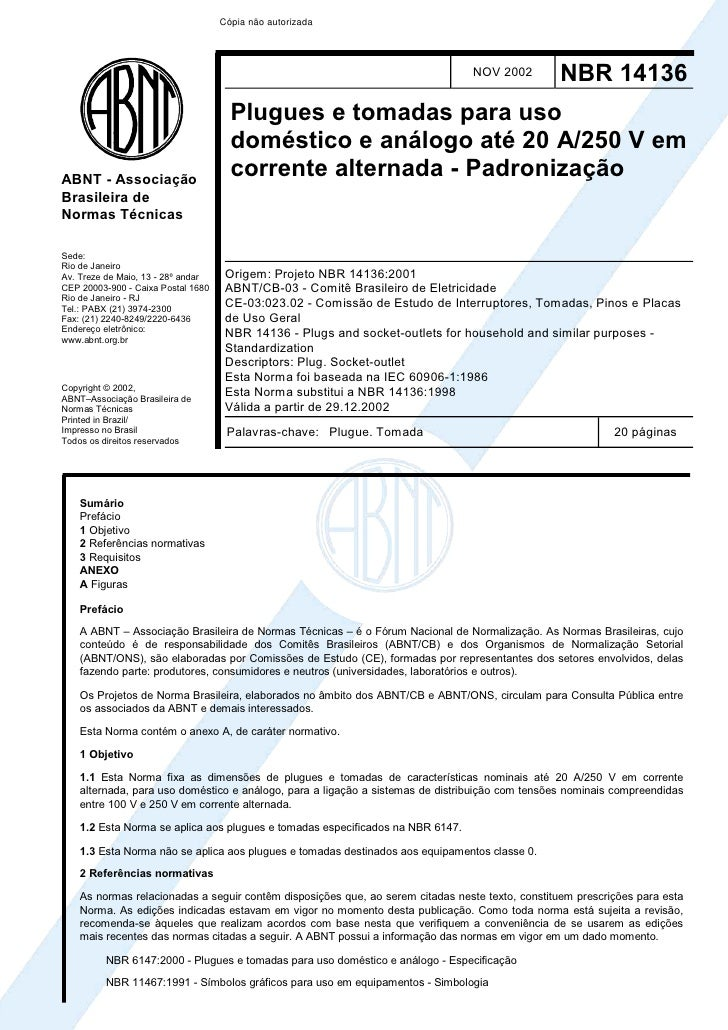 Nbr 14136 (2002) Plugues Tomadas Uso Domestico E An Logo 20a250 Vca Padroniza  O