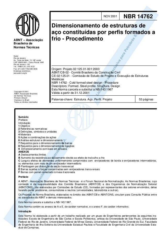 NOV 2001  ABNT – Associação Brasileira de Normas Técnicas Sede: Rio de Janeiro Av. Treze de Maio, 13 / 28º andar CEP 20003...