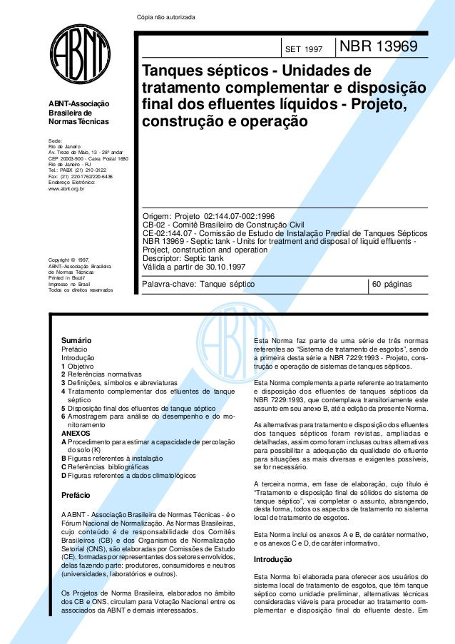 Cópia não autorizada  SET 1997  ABNT-Associação Brasileira de Normas Técnicas  NBR 13969  Tanques sépticos - Unidades de t...