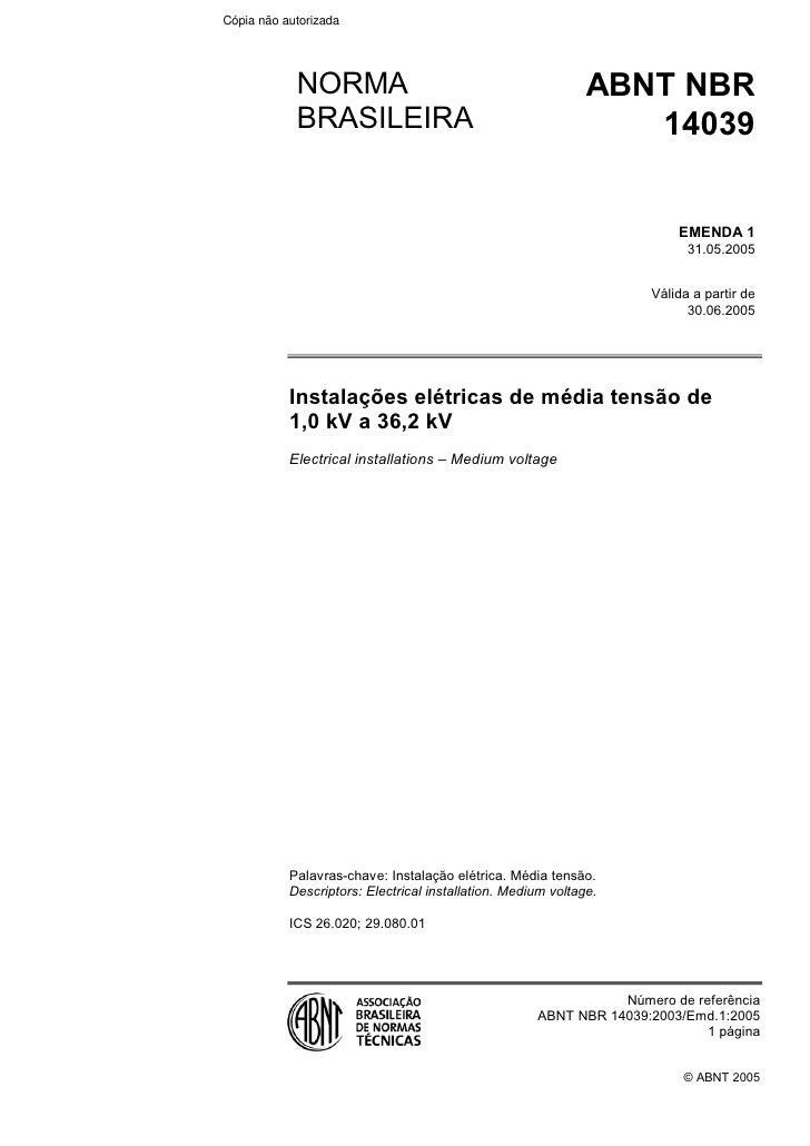 NBR 14039   instalações elétricas de média tensão