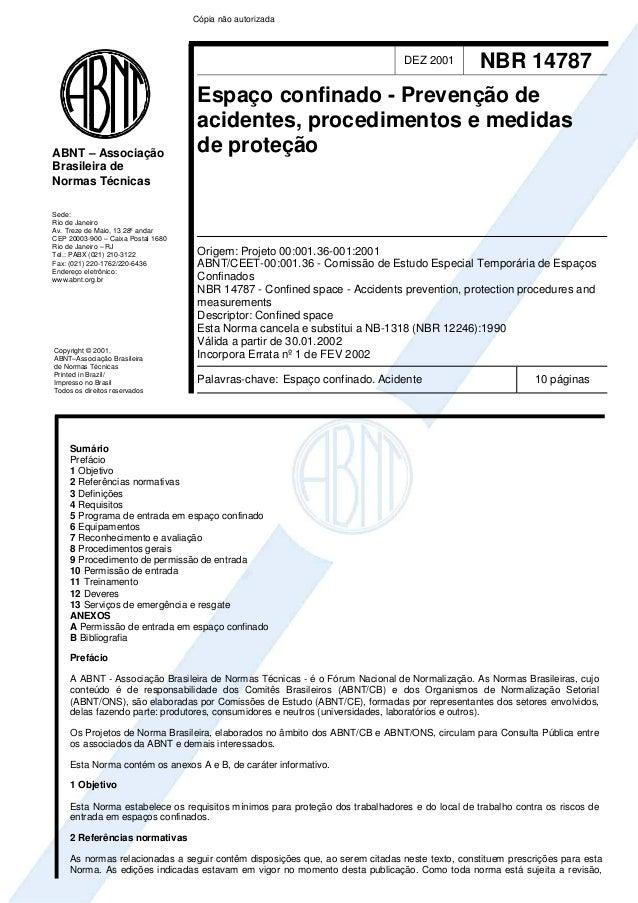 Cópia não autorizada  DEZ 2001  ABNT – Associação Brasileira de Normas Técnicas Sede: Rio de Janeiro Av. Treze de Maio, 13...