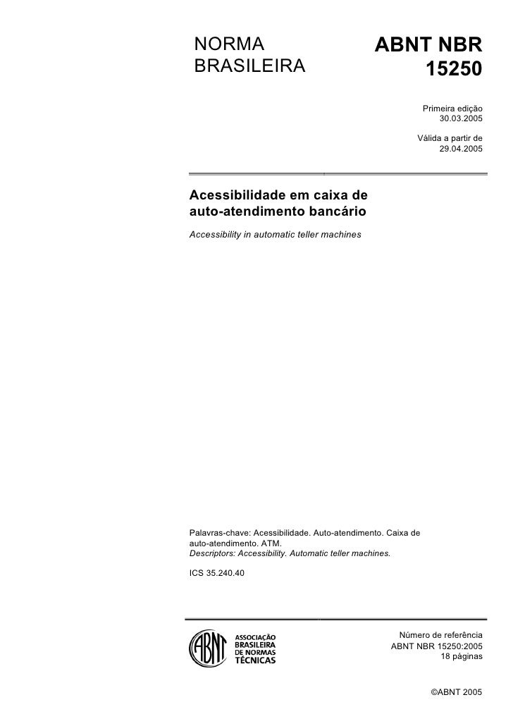 NORMA                                        ABNT NBR  BRASILEIRA                                      15250              ...