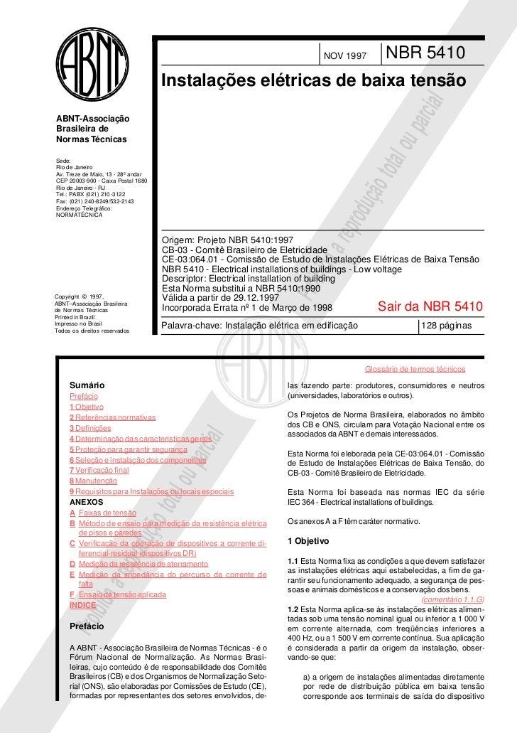 NOV 1997          NBR 5410                                    Instalações elétricas de baixa tensão                       ...