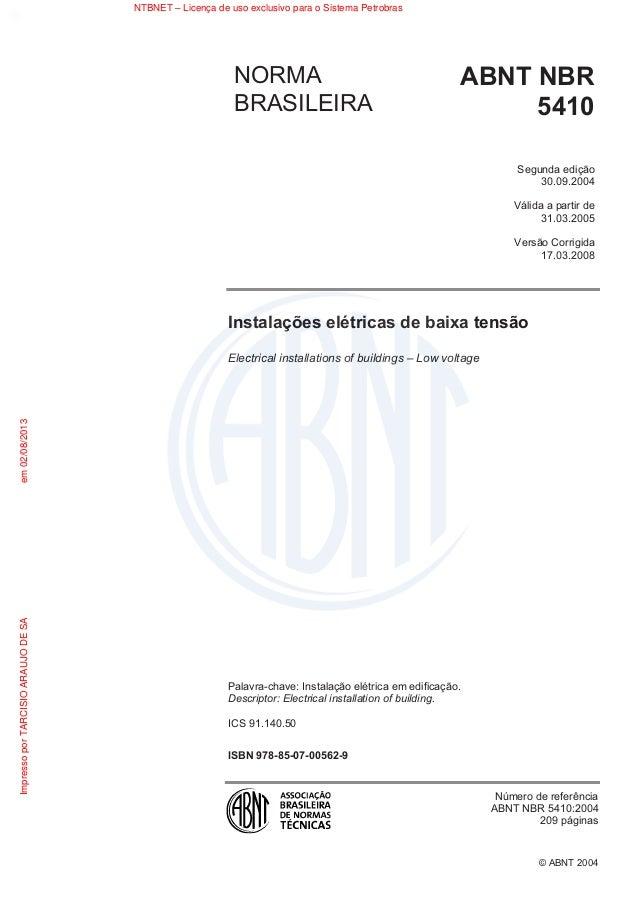 © ABNT 2004 Instalações elétricas de baixa tensão Electrical installations of buildings – Low voltage Palavra-chave: Insta...