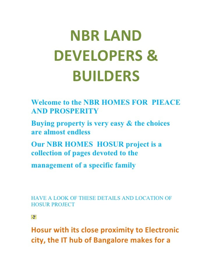 NBR LAND        DEVELOPERS &          BUILDERS Welcome to the NBR HOMES FOR PIEACE AND PROSPERITY Buying property is very ...