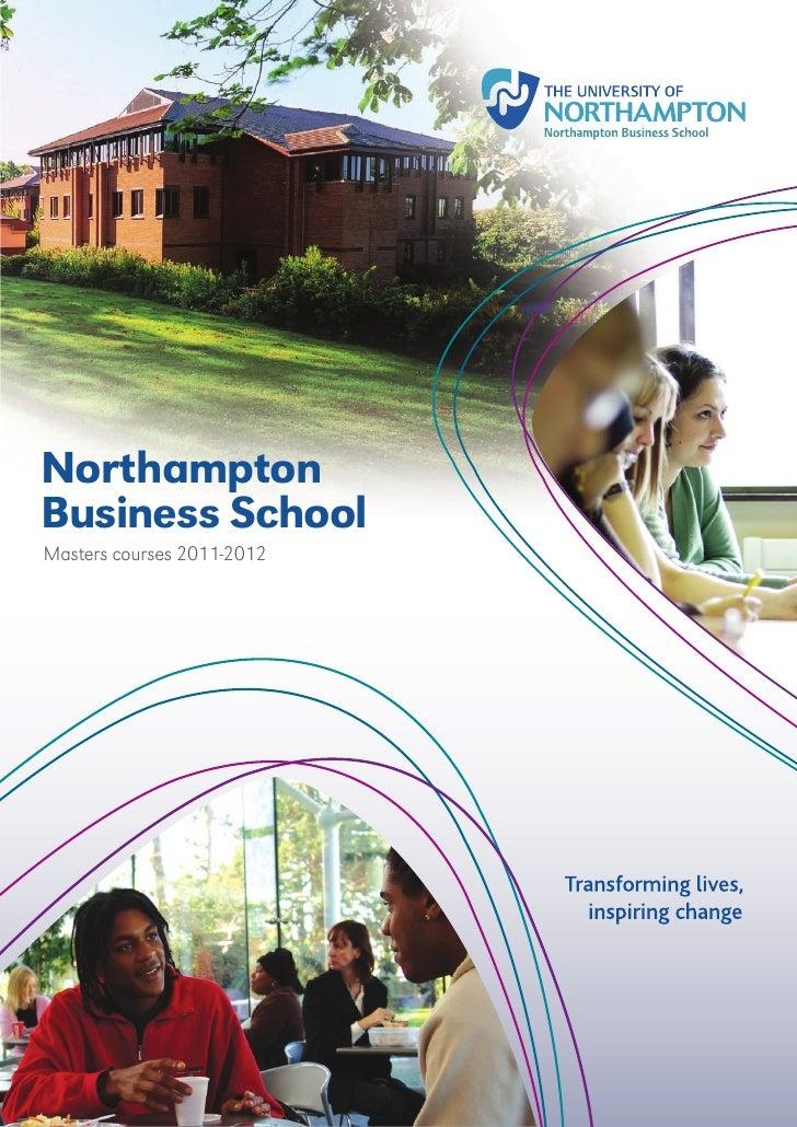 NorthamptonBusiness SchoolMasters courses 2011-2012