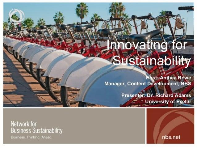 Innovating for Sustainability Webinar
