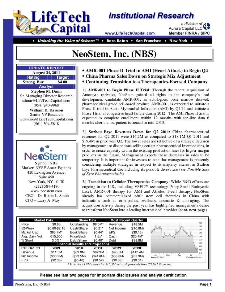  Unlocking the Value of Science ™  Boca Raton  San Francisco  New York                                       NeoStem,...