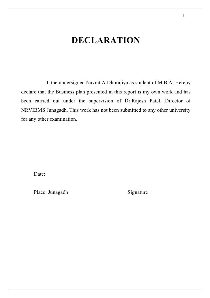 1                        DECLARATION             I, the undersigned Navnit A Dhorajiya as student of M.B.A. Herebydeclare ...