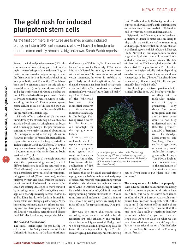 NBT Article Re: iPS Technologies (nov 2009)