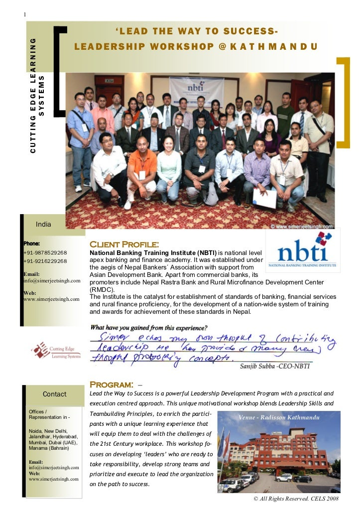 Leadership Development Workshops in India and Nepal, Leadership Training in India and Nepal, Leadership Trainers in India, NBTI Nepal