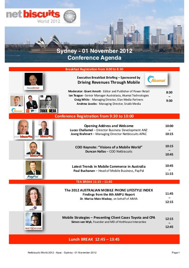 Sydney - 01 November 2012                                           Conference Agenda                                     ...
