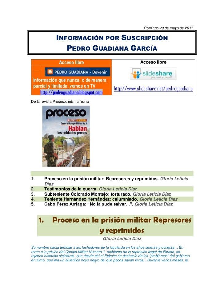 Domingo 29 de mayo de 2011<br />Información por Suscripción<br />Pedro Guadiana García<br />Acceso libre401320-337820Infor...