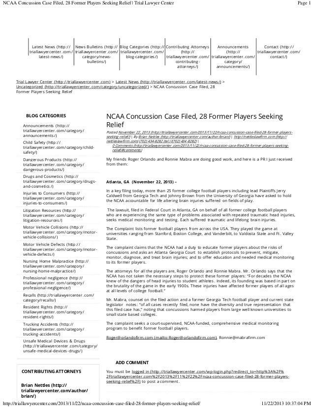 NCAA 28 Players File suit Concussion litigation