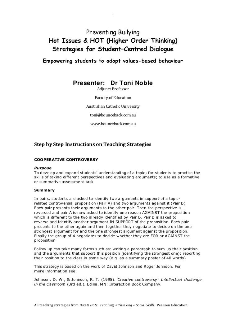 1                     Preventing Bullying         Hot Issues & HOT (Higher Order Thinking)          Strategies for Student...