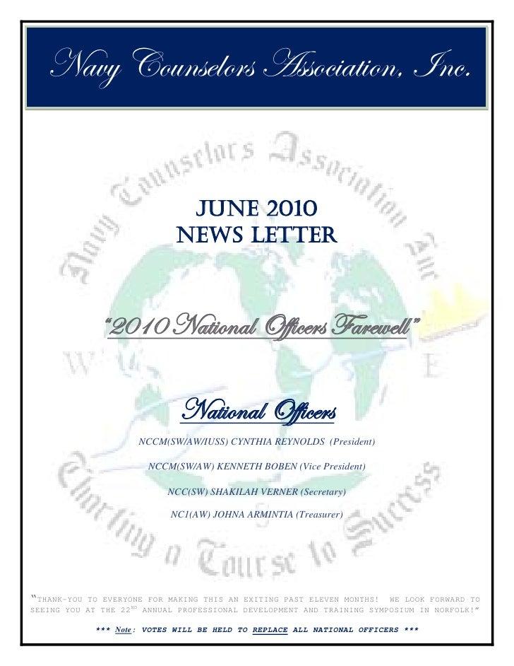 Navy Counselors Association, Inc.                                 JUNE 2010                              NEWS LETTER      ...