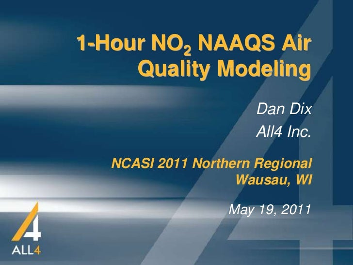1-Hour NO2 NAAQS Air     Quality Modeling                       Dan Dix                       All4 Inc.   NCASI 2011 North...