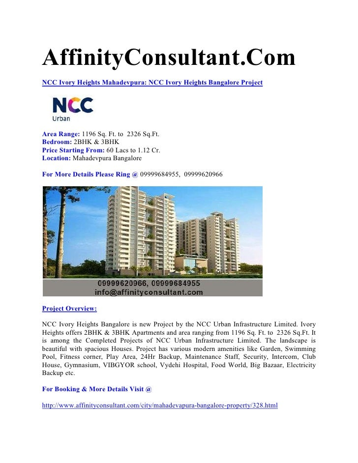 AffinityConsultant.ComNCC Ivory Heights Mahadevpura: NCC Ivory Heights Bangalore ProjectArea Range: 1196 Sq. Ft. to 2326 S...