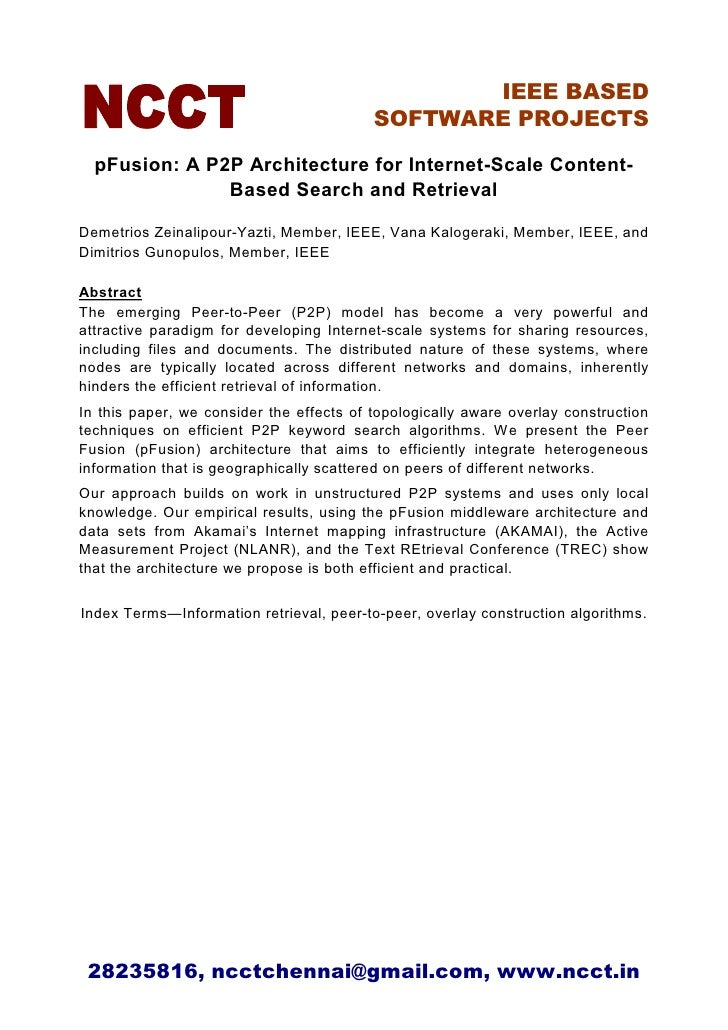IEEE BASED                                           SOFTWARE PROJECTS    pFusion: A P2P Architecture for Internet-Scale C...
