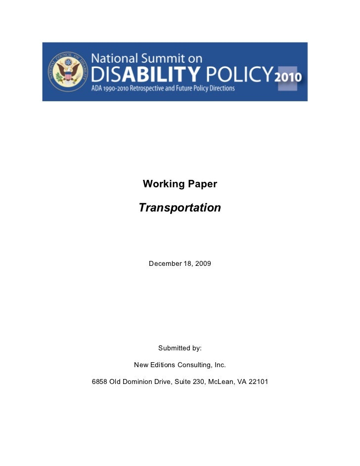 National Council on Disability 2010 Working Paper on  Transportation