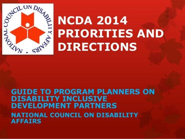 Ncda 2014 priorities