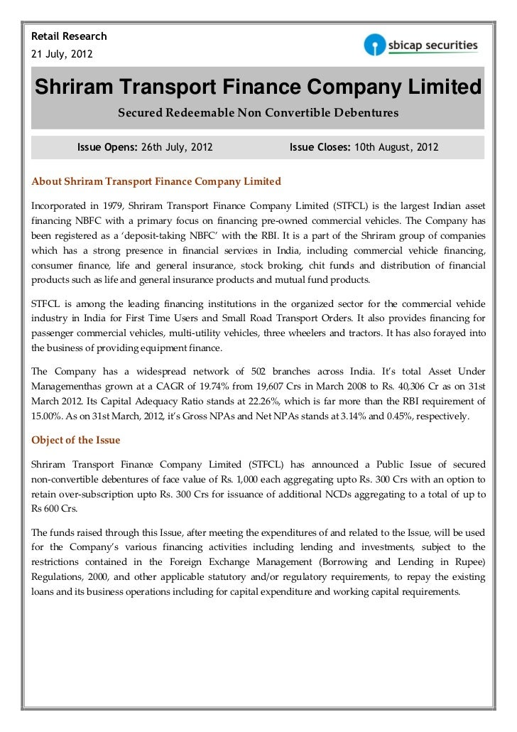 Retail Research21 July, 2012Shriram Transport Finance Company Limited                    Secured Redeemable Non Convertibl...
