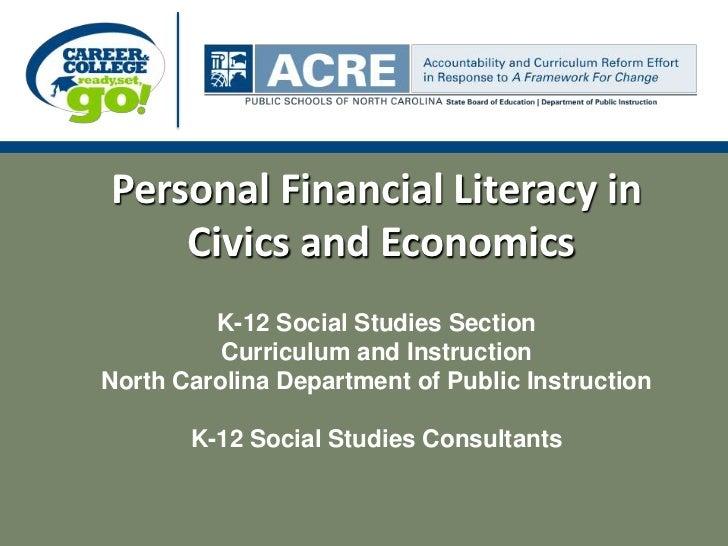 Ncdpi personal financial literacy presentation spring 2011