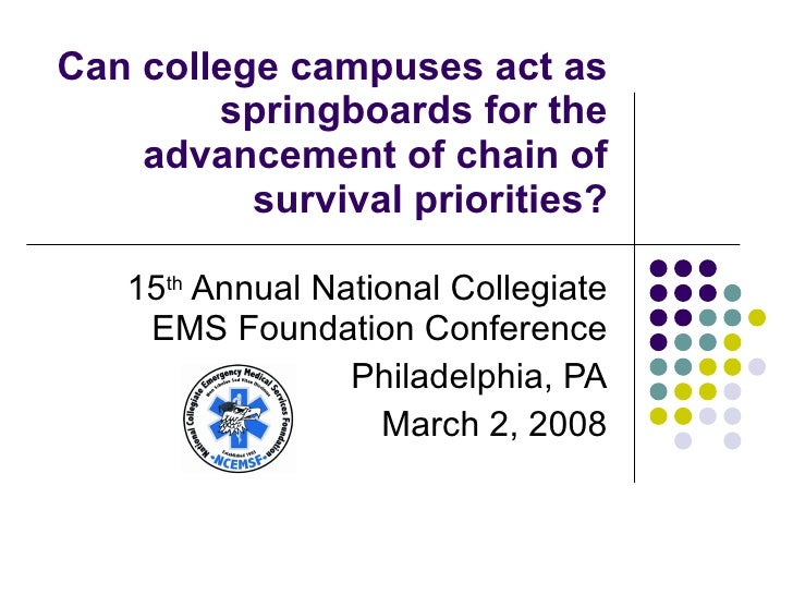 Can college campuses act as springboards for the advancement of chain of survival priorities? 15 th  Annual National Colle...