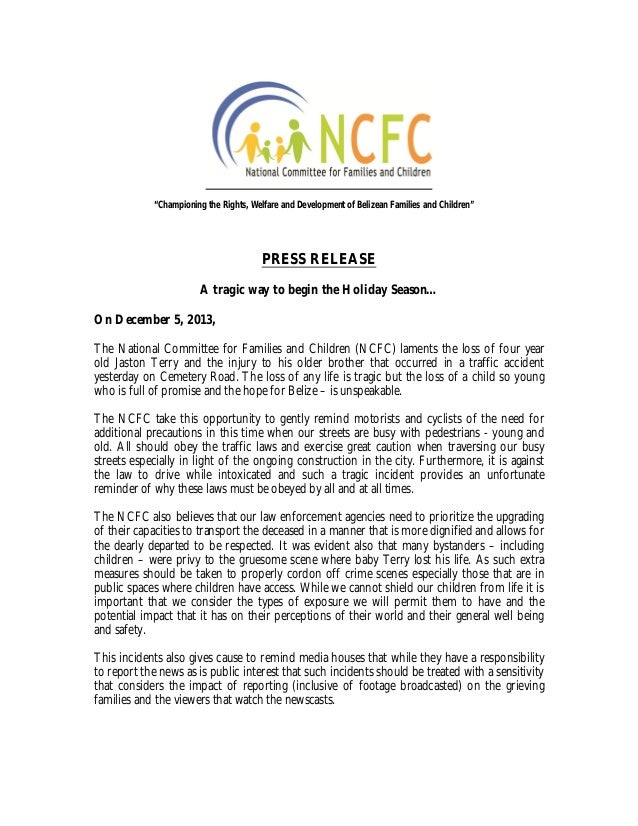 Ncfc release on traffic accident