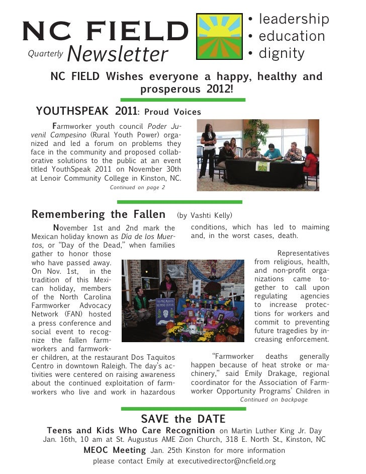 NC FIELD Newsletter Jan 2012
