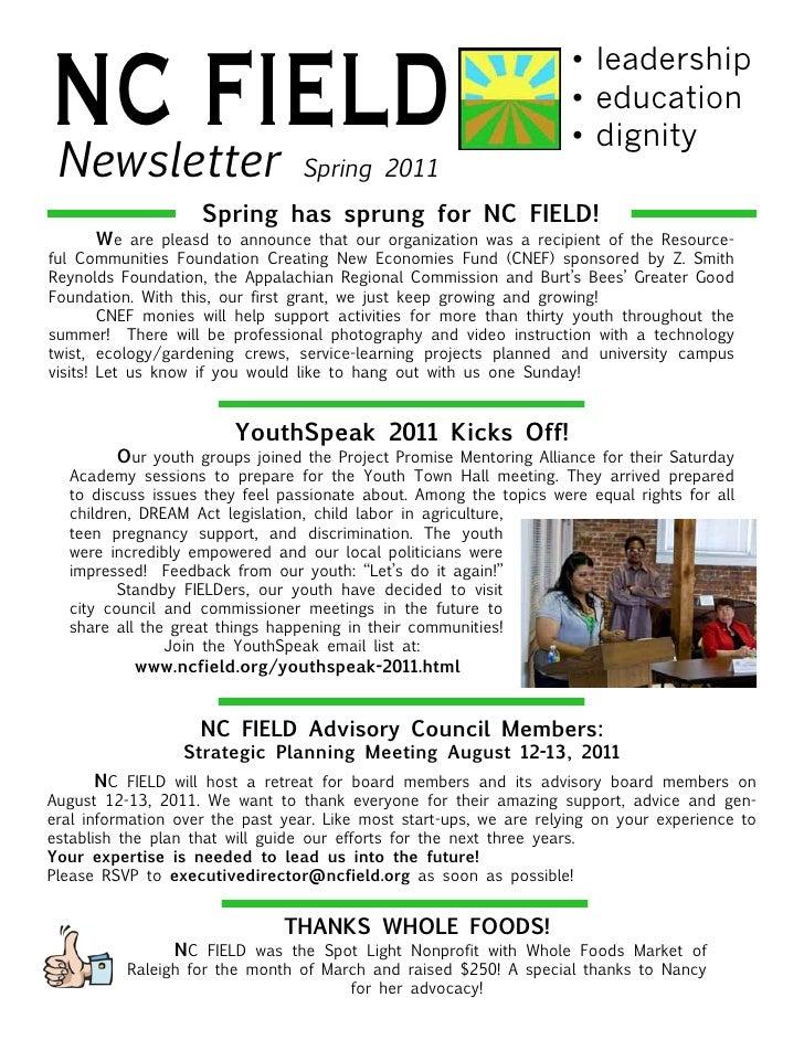 NC FIELD Newsletter                       Spring 2011                                                                     ...