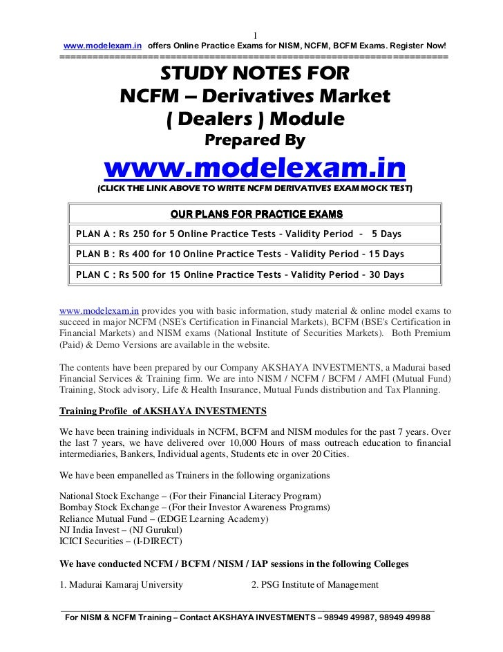 Study Notes (20 Pages) | NCFM Derivatives Market Dealers Module (DMDM) | Mock Test at www.modelexam.in