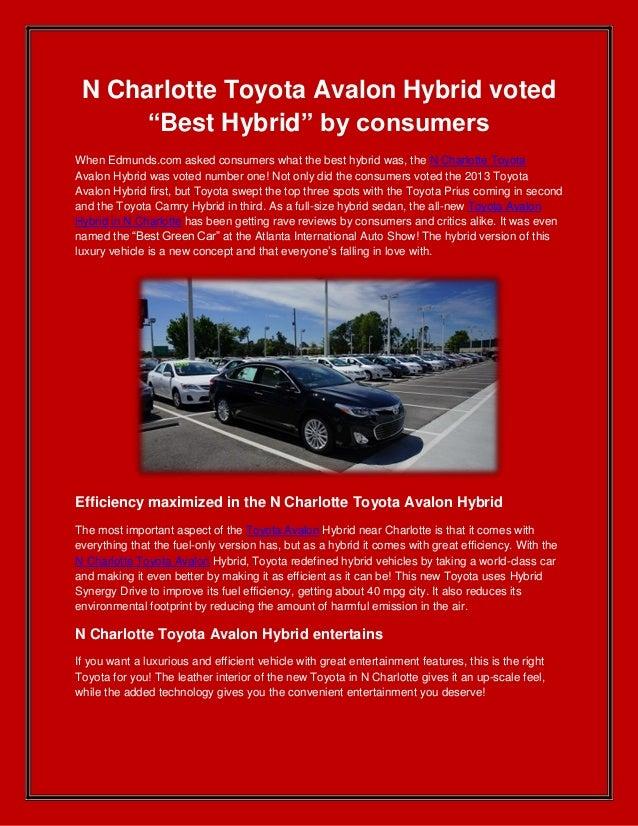N Charlotte Toyota Avalon Hybrid