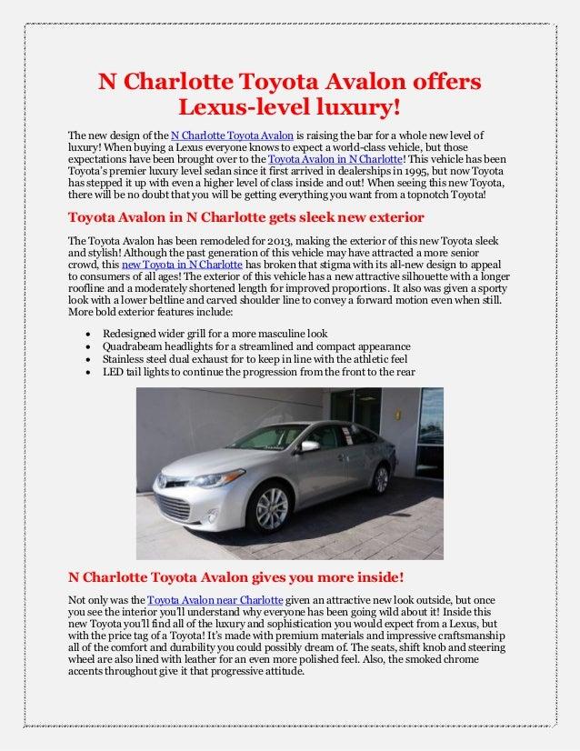 N Charlotte Toyota Avalon offers Lexus luxury