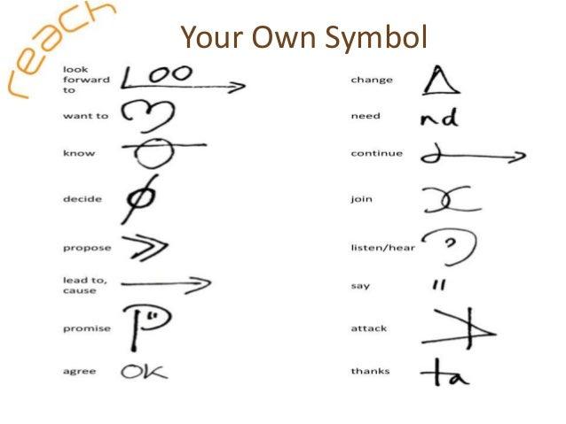 Common shorthand symbols