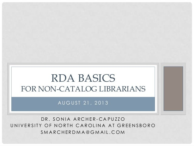 RDA Basics for Non-Catalog Librarians
