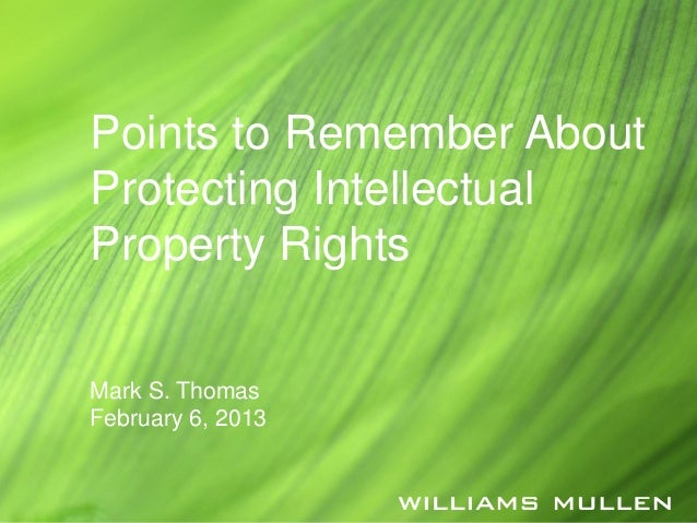 Points to Remember AboutProtecting IntellectualProperty RightsMark S. ThomasFebruary 6, 2013