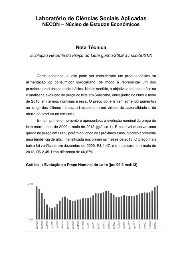 Laboratório de Ciências Sociais Aplicadas NECON – Núcleo de Estudos Econômicos Nota Técnica Evolução Recente do Preço do L...