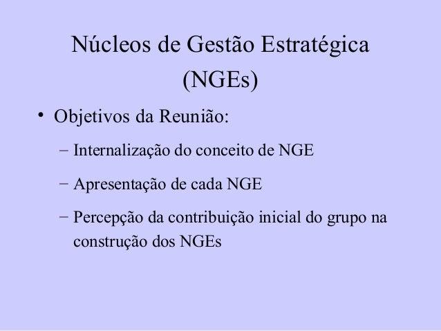 • Objetivos da Reunião:– Internalização do conceito de NGE– Apresentação de cada NGE– Percepção da contribuição inicial do...