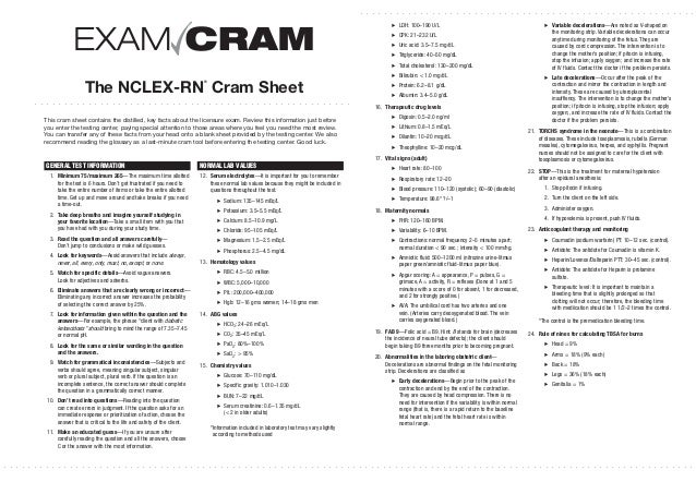 Handy image intended for nclex cram sheet printable