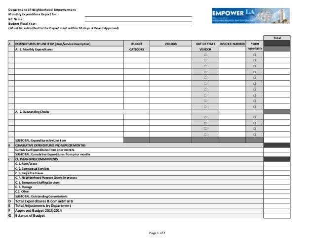 DepartmentofNeighborhoodEmpowermentMonthlyExpenditureReportfor:NCName:BudgetFiscalYear:(Mustbesubmittedtoth...