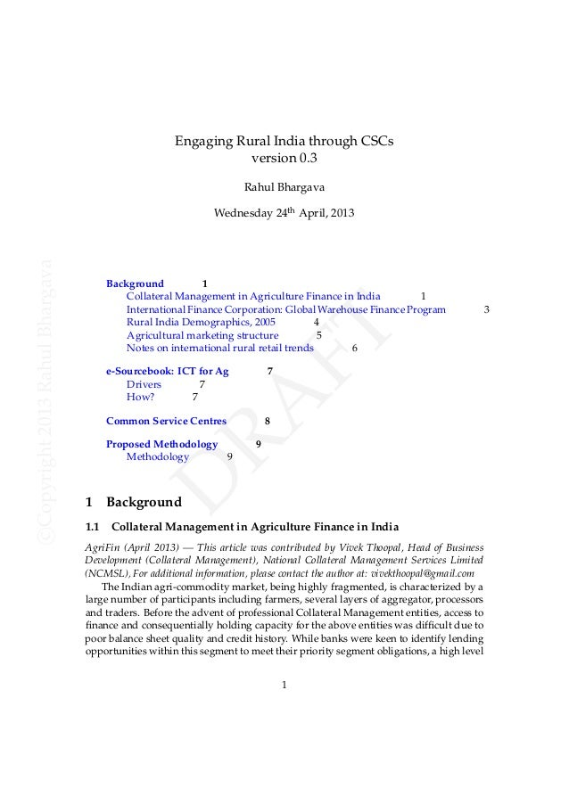 Engaging Rural India through CSCs version 0.3 Rahul Bhargava  e-Sourcebook: ICT for Ag Drivers 7 How? 7  7  Common Service...