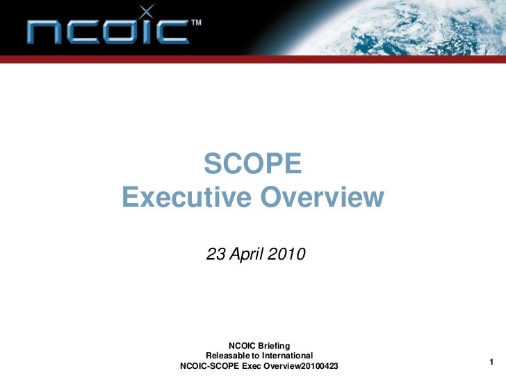 NCOIC SCOPE Executive Overview