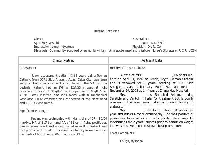 Nursing Care Plans for Community Acquired Pneumonia 2009