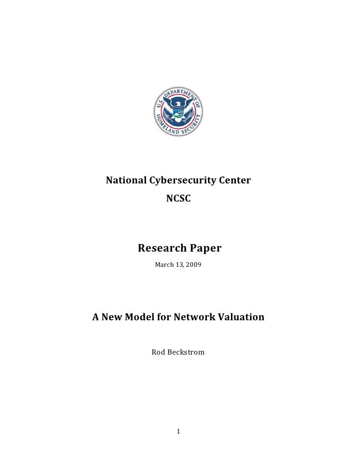 Ncsc Value Of Networks   Rod Beckstrom 090312 Final