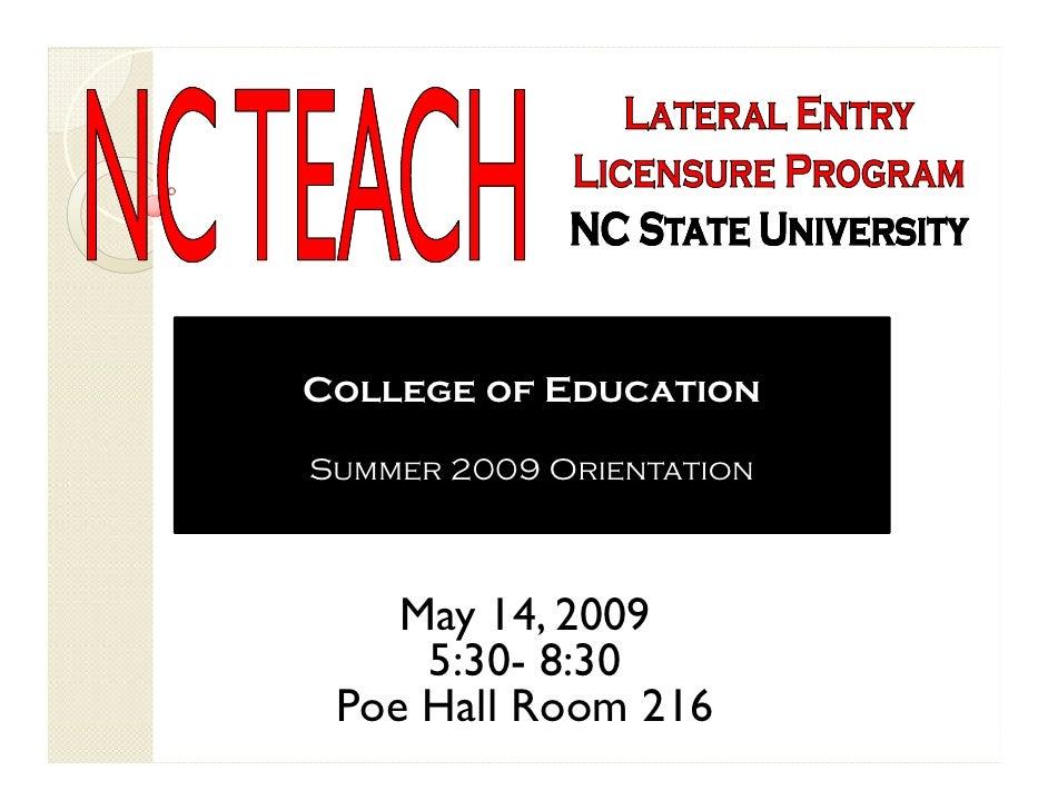 NCTEACH Slideshow Summer Start 2009 Orientation