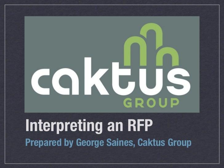 Interpreting an RFP