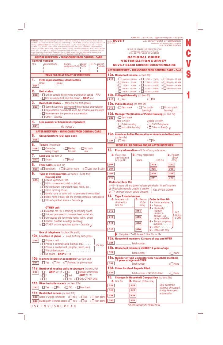 Ncvs Questionnaire