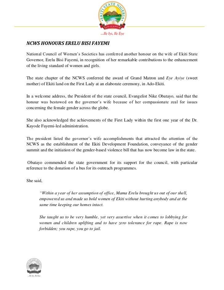 NCWS Honours Erelu Bisi Fayemi